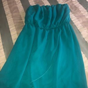 Turquoise strapless cocktail dress